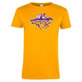 Ladies Gold T Shirt-Primary Logo Distressed