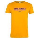 Ladies Gold T Shirt-Stay Purple