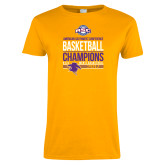 Ladies Gold T Shirt-2017 ASC Champions - Mens Basketball Stacked