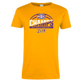Ladies Gold T Shirt-2017 ASC Champs - Mens Basketball Half Ball