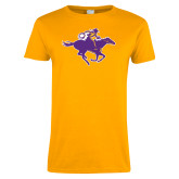 Ladies Gold T Shirt-Cowgirl Riding