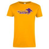 Ladies Gold T Shirt-Cowgirls Basketball