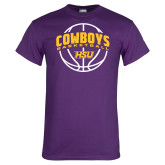 Purple T Shirt-HSU Cowboys Basketball w/ Ball