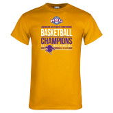 Gold T Shirt-2017 ASC Champions - Mens Basketball Stacked