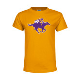 Youth Gold T Shirt-Cowgirl Riding