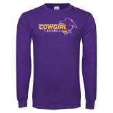 Purple Long Sleeve T Shirt-Cowgirls Softball