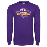 Purple Long Sleeve T Shirt-Primary Logo Distressed