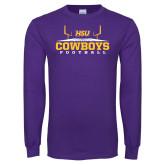 Purple Long Sleeve T Shirt-Cowboys Football w/ Field