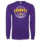 Purple Long Sleeve T Shirt-HSU Cowboys Basketball w/ Ball