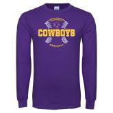 Purple Long Sleeve T Shirt-HSU Cowboys Baseball w/ Seams