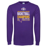 Purple Long Sleeve T Shirt-2017 ASC Champions - Mens Basketball Stacked