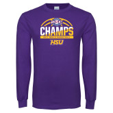 Purple Long Sleeve T Shirt-2017 ASC Champs - Mens Basketball Half Ball