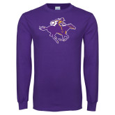 Purple Long Sleeve T Shirt-Cowgirl Riding