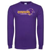 Purple Long Sleeve T Shirt-Cowgirls Basketball