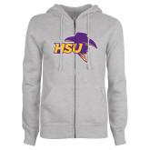 ENZA Ladies Grey Fleece Full Zip Hoodie-HSU Cowboy