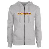 ENZA Ladies Grey Fleece Full Zip Hoodie-Hardin-Simmons Cowgirls