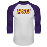 White/Purple Raglan Baseball T Shirt-HSU