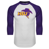 White/Purple Raglan Baseball T Shirt-HSU Cowboy