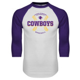 White/Purple Raglan Baseball T Shirt-HSU Cowboys Baseball w/ Seams