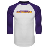 White/Purple Raglan Baseball T Shirt-Hardin-Simmons Cowgirls