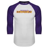 White/Purple Raglan Baseball T Shirt-Hardin-Simmons Cowgirls