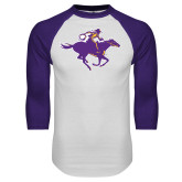 White/Purple Raglan Baseball T Shirt-Cowgirl Riding