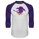 White/Purple Raglan Baseball T Shirt-Cowgirl Head