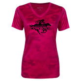 Ladies Pink Raspberry Camohex Performance Tee-Primary Logo