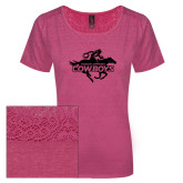 Ladies Dark Fuchsia Heather Tri-Blend Lace Tee-Primary Logo
