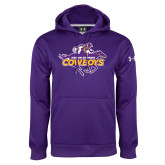 Under Armour Purple Performance Sweats Team Hood-Primary Logo