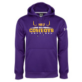 Under Armour Purple Performance Sweats Team Hoodie-Cowboys Football w/ Field