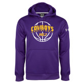 Under Armour Purple Performance Sweats Team Hoodie-HSU Cowboys Basketball w/ Ball