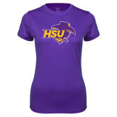 Ladies Syntrel Performance Purple Tee-HSU Cowgirl