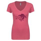 Next Level Ladies Vintage Pink Tri Blend V-Neck Tee-HSU Cowgirl Hot Pink Glitter