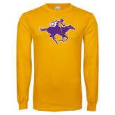 Gold Long Sleeve T Shirt-Cowgirl Riding