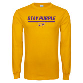 Gold Long Sleeve T Shirt-Stay Purple