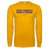 Gold Long Sleeve T Shirt-Stay Purple