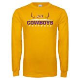 Gold Long Sleeve T Shirt-Cowboys Football w/ Field