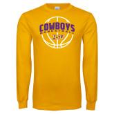 Gold Long Sleeve T Shirt-HSU Cowboys Basketball w/ Ball