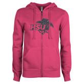 ENZA Ladies Fuchsia Fleece Full Zip Hoodie-HSU Cowgirl Graphite Glitter