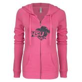 ENZA Ladies Hot Pink Light Weight Fleece Full Zip Hoodie-HSU Cowgirl Graphite Glitter