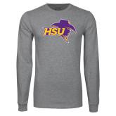 Grey Long Sleeve T Shirt-HSU Cowboy