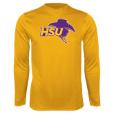 Performance Gold Longsleeve Shirt-HSU Cowboy
