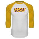 White/Gold Raglan Baseball T-Shirt-HSU