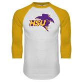 White/Gold Raglan Baseball T-Shirt-HSU Cowboy