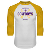 White/Gold Raglan Baseball T-Shirt-HSU Cowboys Baseball w/ Seams
