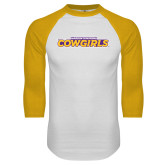 White/Gold Raglan Baseball T Shirt-Hardin-Simmons Cowgirls
