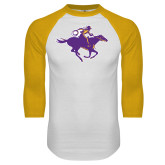 White/Gold Raglan Baseball T Shirt-Cowgirl Riding
