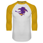 White/Gold Raglan Baseball T Shirt-Cowgirl Head