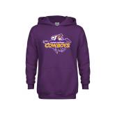 Youth Purple Fleece Hood-Primary Logo